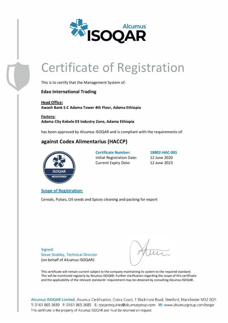 Edao Trading HACCP Certification