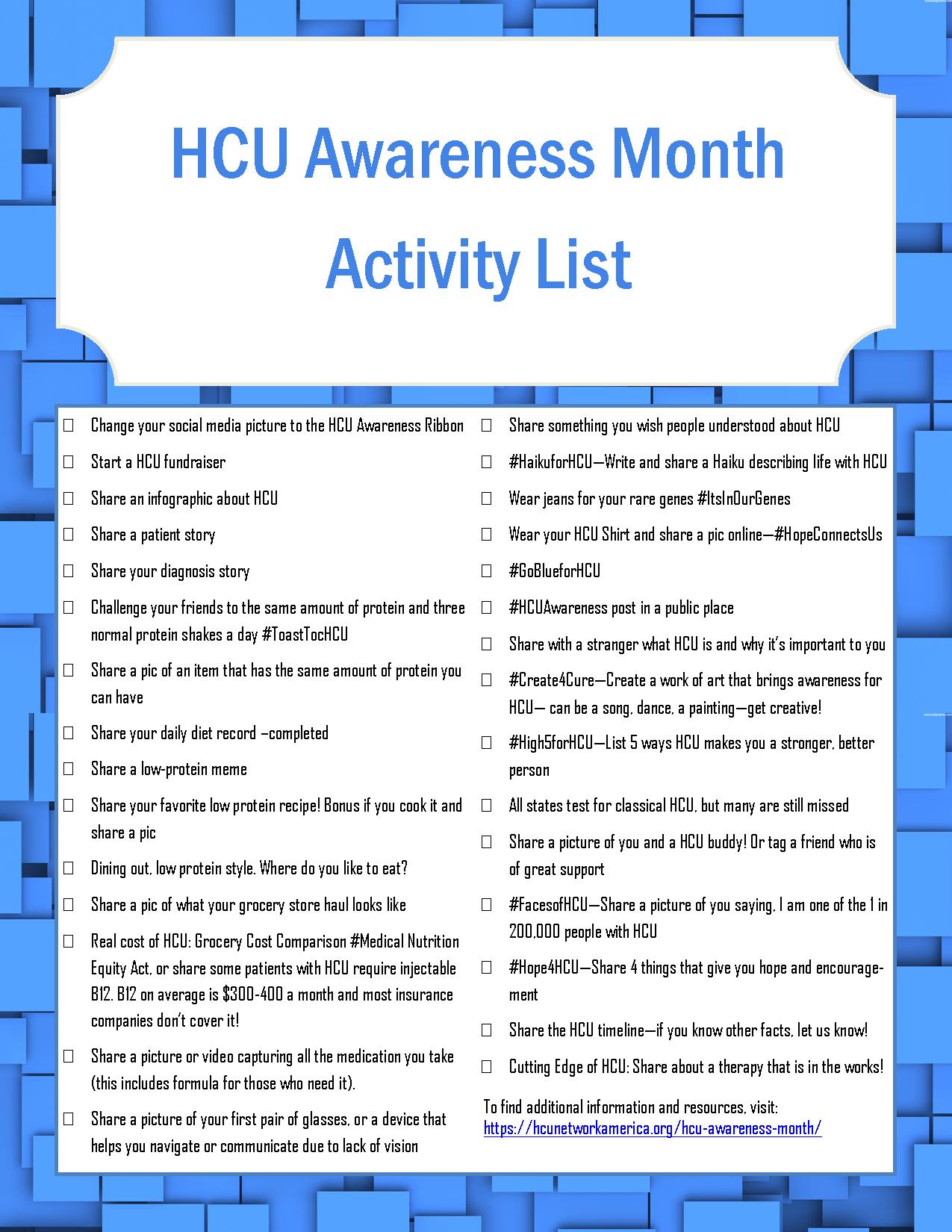 HCU Awareness Month Activity List
