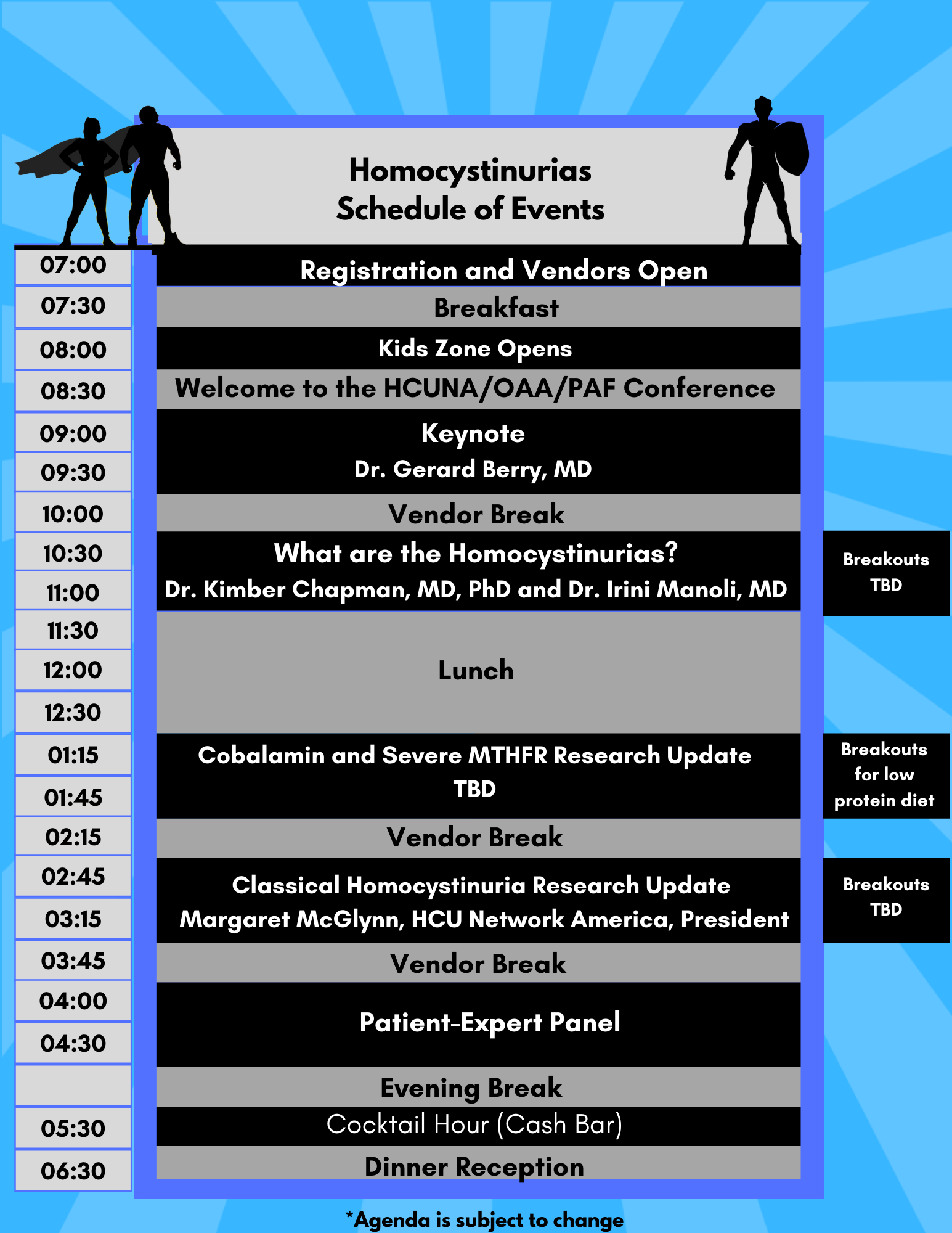 Homocystinuria Schedule of Events 2021 Day 1