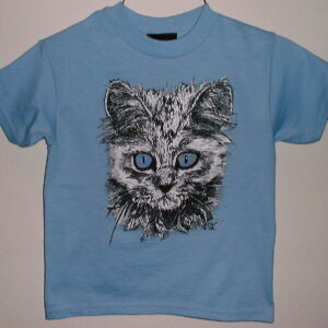 Kid's Crew shirt with blue-eyed cat