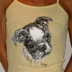Spaghetti Strap shirt with Boston Terrier