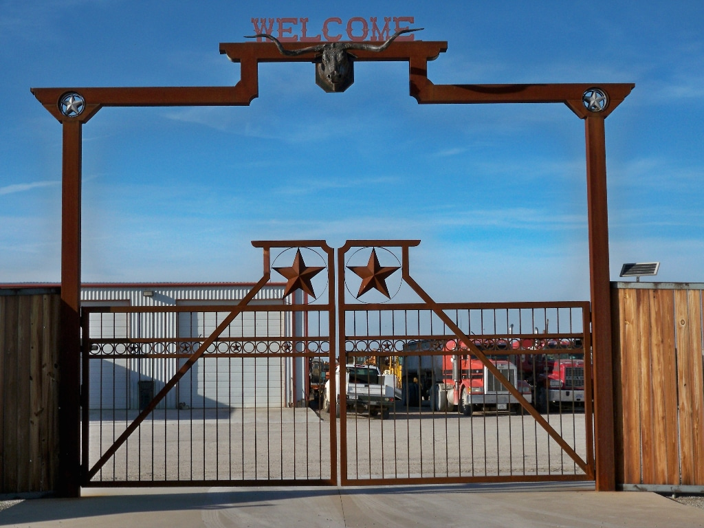 Large Iron Driveway Gate with logo and name