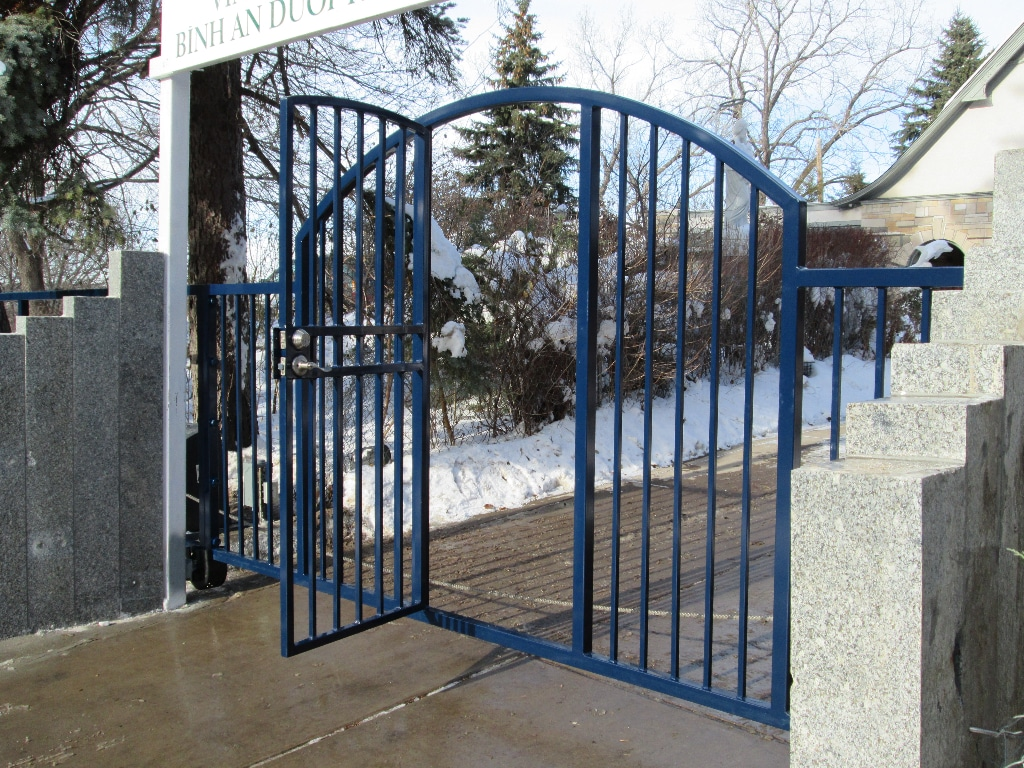 Iron Driveway Gate protecting a business