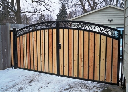Iron and wood gate for home