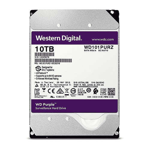 Disco duro Western Digital Purple Surveillance, 10TB, SATA 6.0 Gbps, 7200RPM, 3.5″.