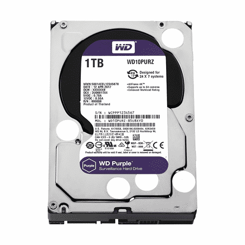 Disco duro Western Digital Purple Surveillance, 1TB, SATA 6.0 Gbps, 5400RPM, 64MB, 3.5″.