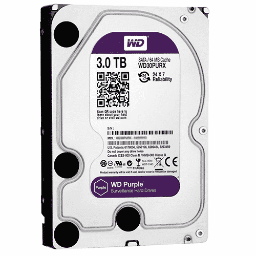 Disco duro Western Digital Purple Surveillance, 3TB, SATA 6.0 Gbps, 5400RPM, 64MB, 3.5″.