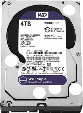 Disco duro Western Digital Purple Surveillance, 4TB, SATA 6.0 Gbps, 5400 RPM, 3.5″.