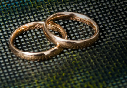 Portuguese gold wedding bands, engraved with names and wedding date