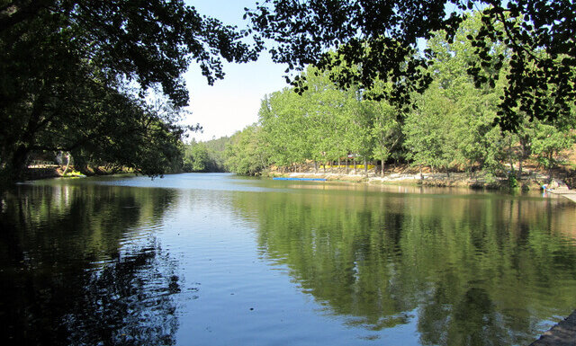 Calm water, perfect for swimming, at Cascalheira river beach, central Portugal