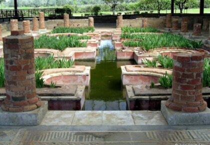 Interior gardens, Conimbriga Roman ruins, Coimbra, Portugal. Photography by Julie Dawn Fox