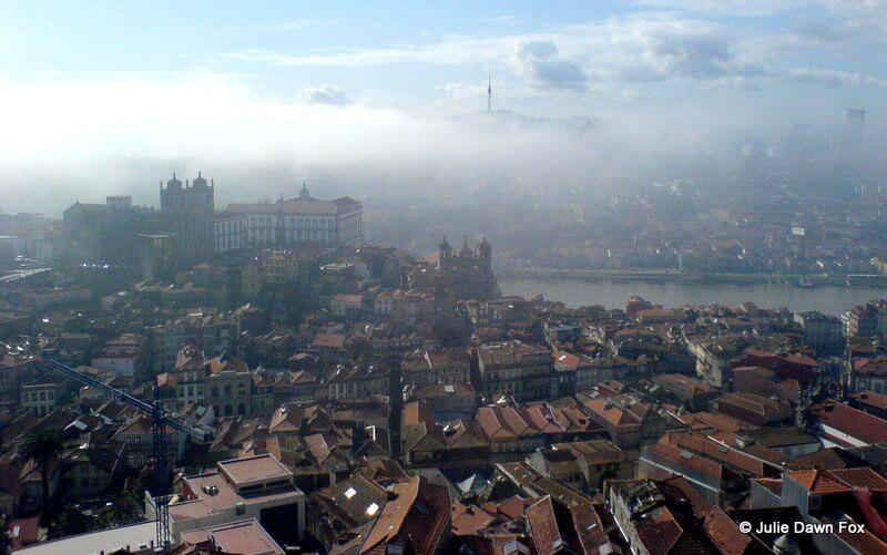 View from Clérigos Tower in Porto on a misty morning.