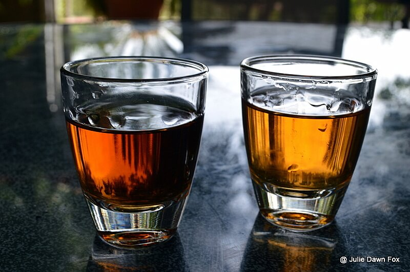 Glasses of medium sweet and dry Madeira wine. Food and drink in Madeira