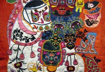 Colourful embroidered appliqué hanging, Museu do Oriente, Lisbon