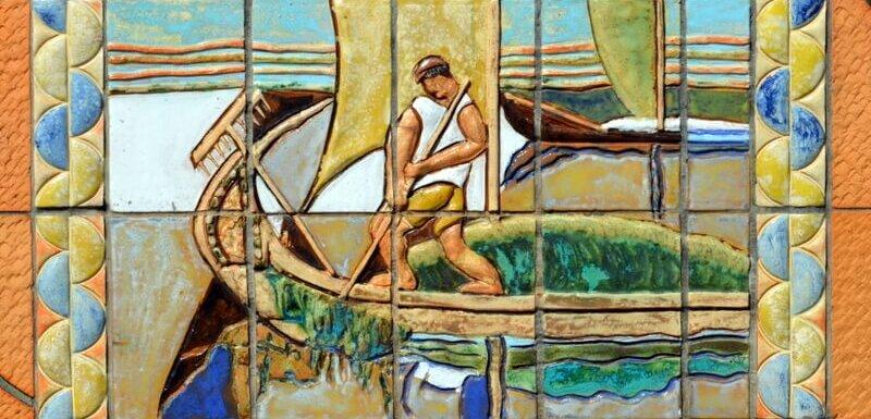 Ceramic panel of a moliceiro collecting seaweed, Aveiro