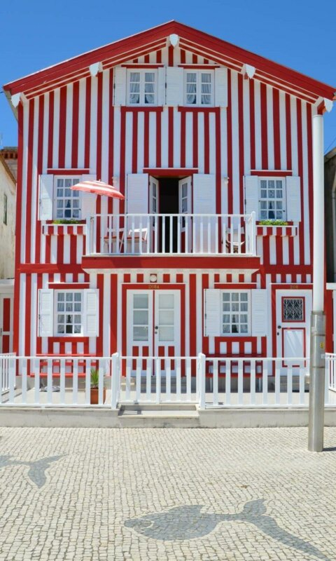 Red and white striped house, Costa Nova, Aveiro, Portugal