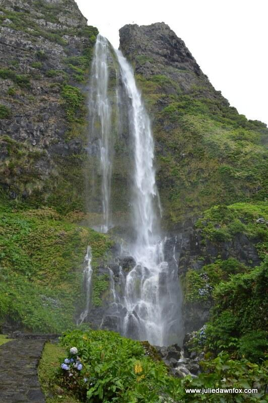 Poço do Bacalhau waterfall, Flores, Azores, Portugal. Photography by Julie Dawn Fox