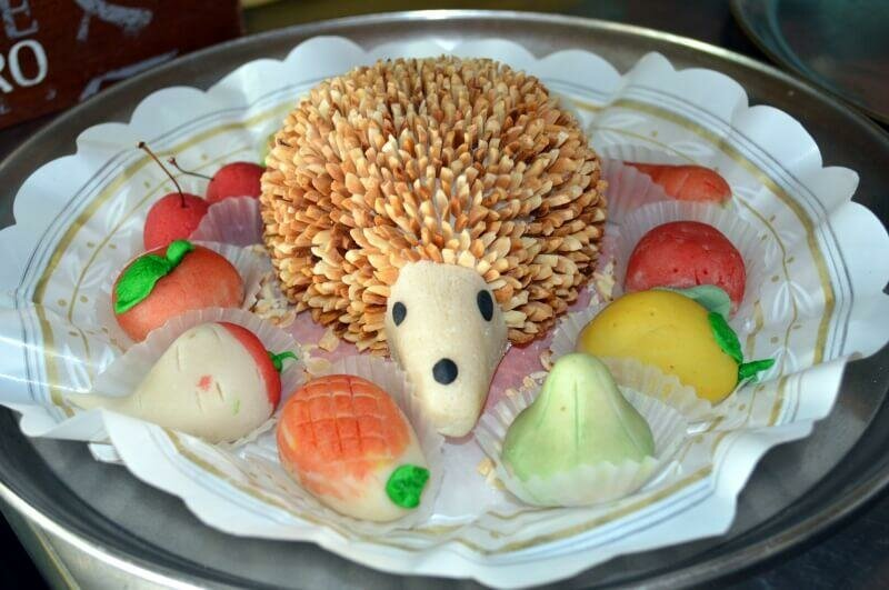 Marzipan hedgehog and traditional Agarve sweets, São Bras de Alportel, Algarve, Portugal. Photography by Julie Dawn Fox