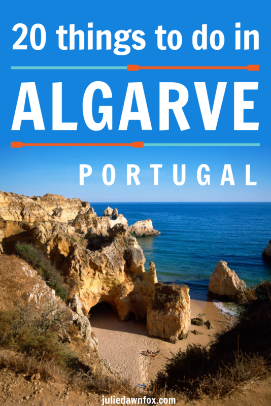 Rocky beach and blue skies. Things to do in the Algarve Portugal
