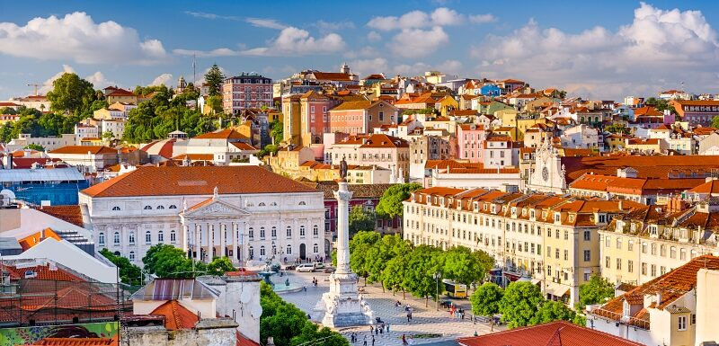 Lisbon, Portugal skyline view over Rossio Square.