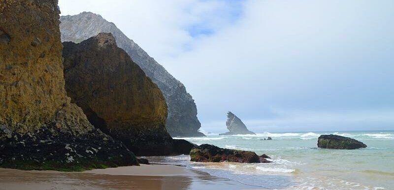 Rocky coastline, Praia da Adraga, one of several beautiful Sintra beaches