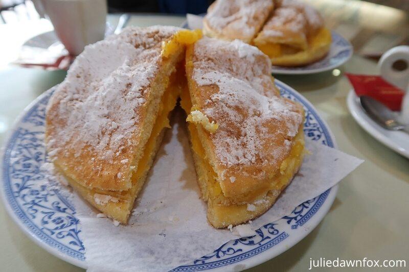 Delicious bolo de Berlim, an understandably popular Portuguese cake