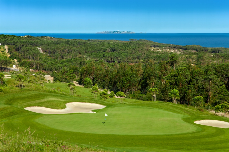 Royal Obidos golf course, with trees and ocean