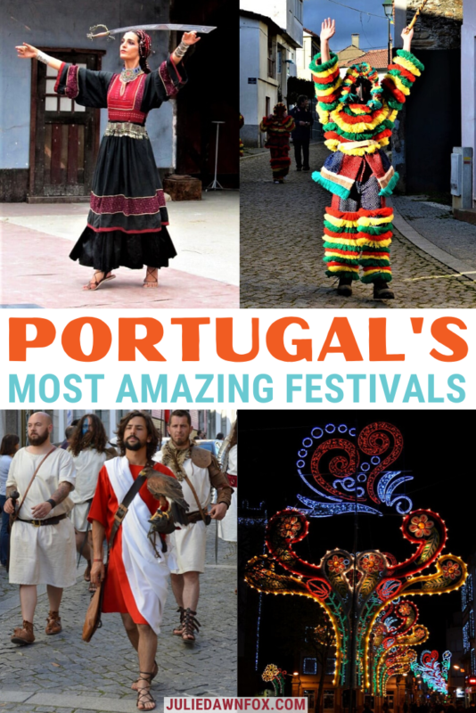 Sword dancer, masked man, Roman falconer and lights. Portugal has countless fairs and festivals, whether you're travelling in winter, spring, autumn or summer - and this expert guide tells you about the very best. From traditional costume festivals - some involving amazing masks - through food festivals in homage to pork, cheese and wine to festivals with vivid street displays and music. Read on to find the festival for you!