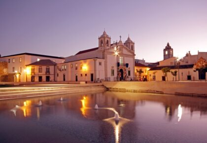 Medieval church in Lagos Portugal at twilight. Where to stay in Lagos Portugal