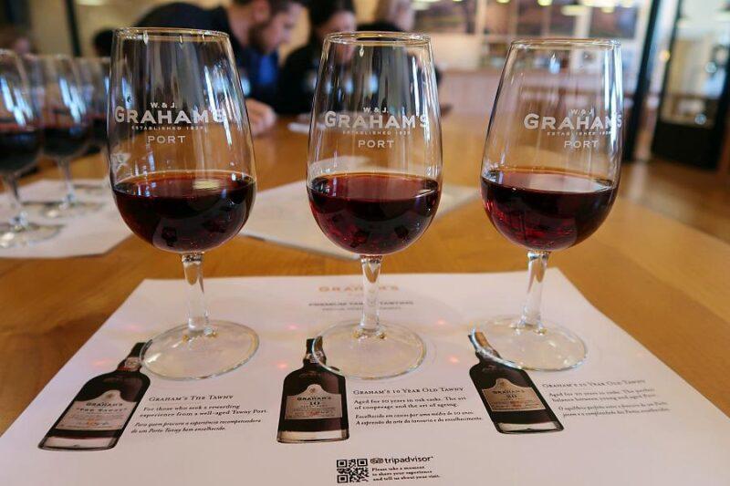 3 glasses of Port wine. A tasting at Graham's in Vila Nova da Gaia, Portugal