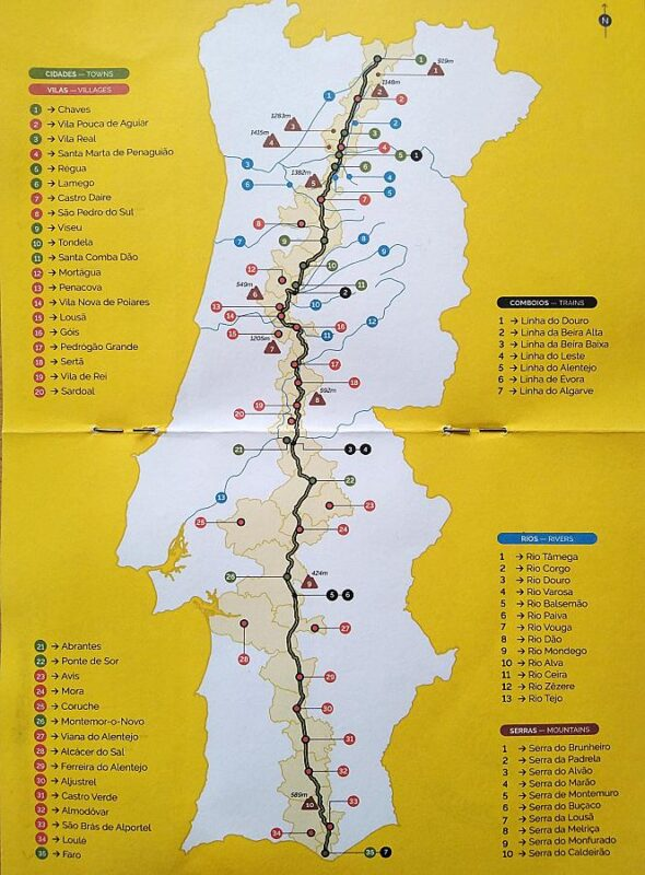 N2 Portugal road trip outline map