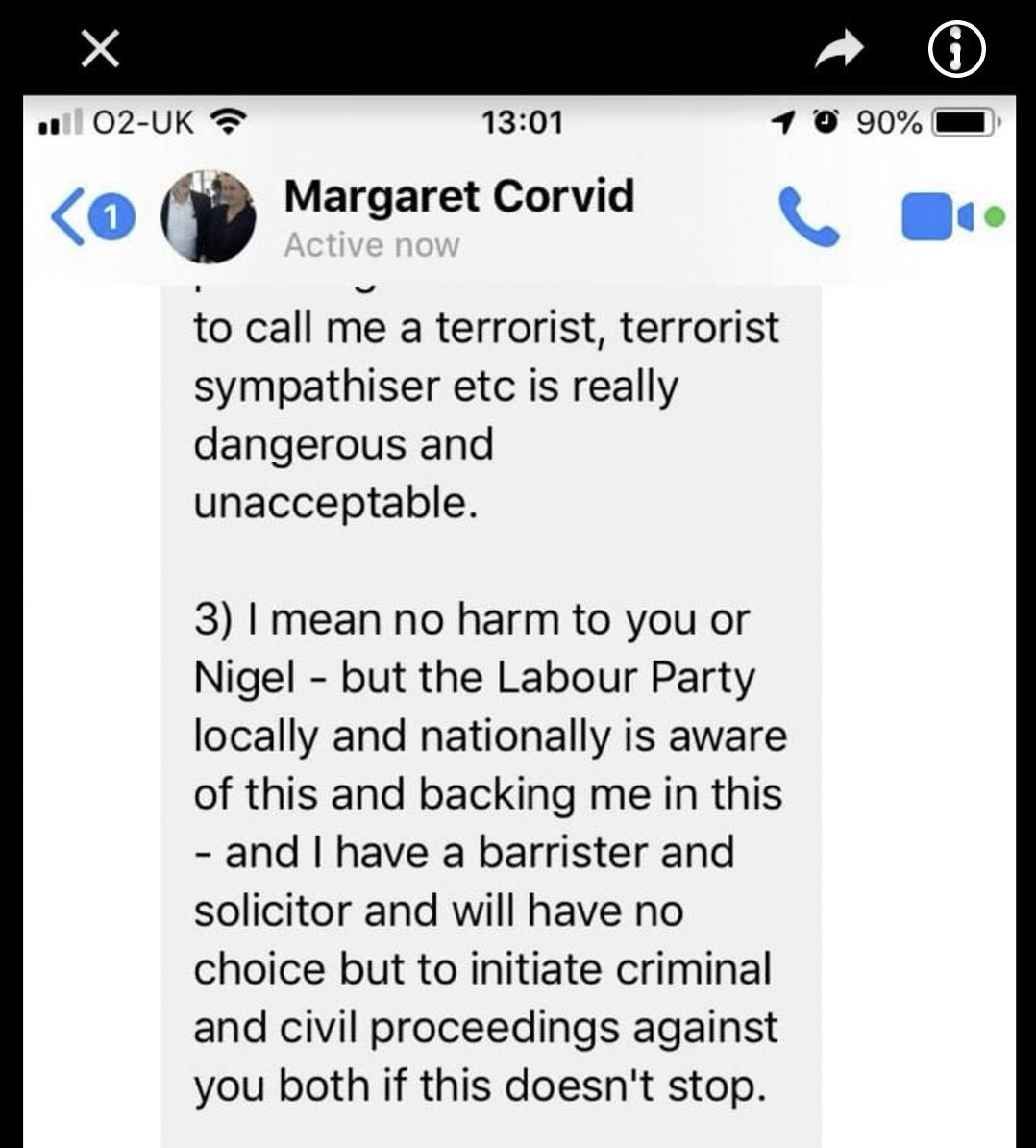 Councillor Maragret Corvid making threats
