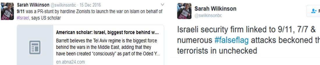 Sarah Wilkinson antisemitic conspiracy