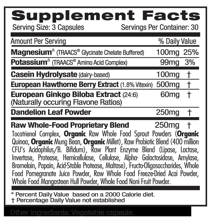 Ultra Botanicals Blood Pressure Supp Facts