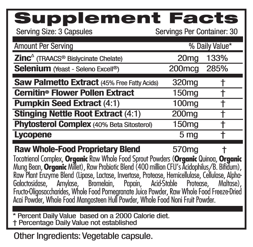 Ultra Botanicals Prostate Health Supp Facts