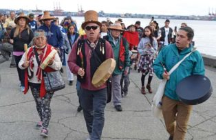 First Nations people march