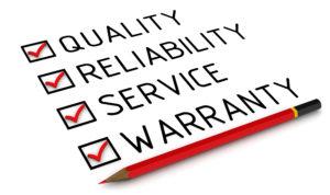 text written: quality, reliability, service, warranty