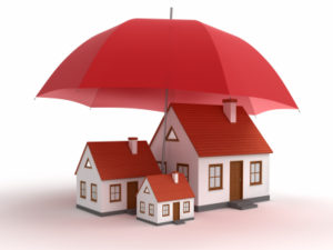 image of house under a large red umbrella
