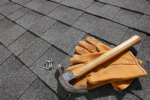 closeup image of roof and roofing tools
