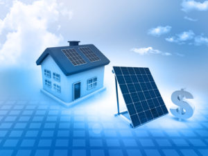photo of house and solar panels and dollar sign