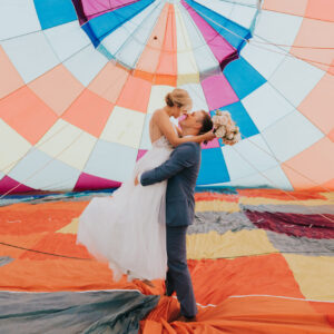 Hot Air Balloon + Bride and Groom at Thistle Hill Estate