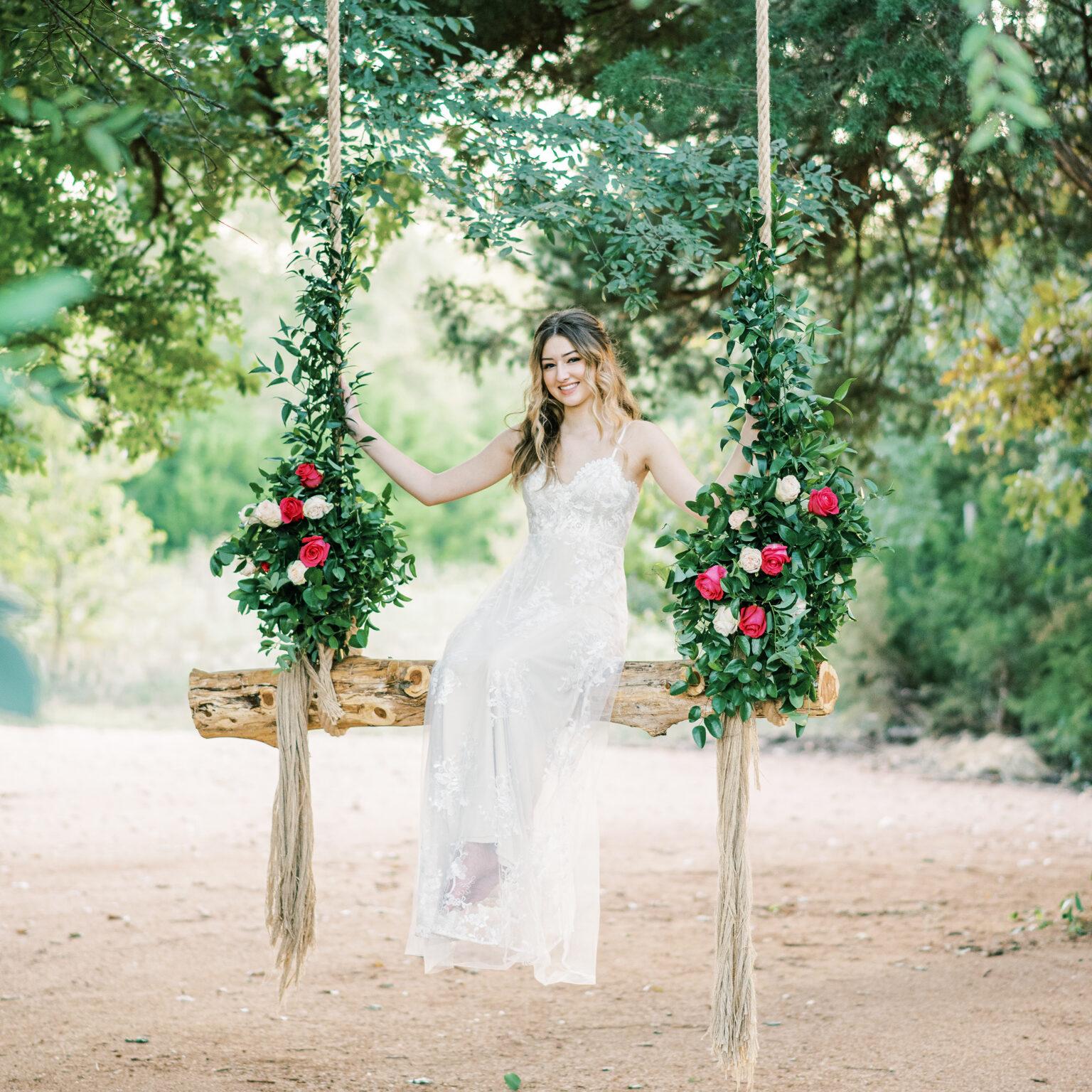 Bridal Portrait on Garden Swing at Thistle HIll Estate