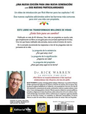 Contraportada del libro Una vida con propósito de Rick Warren