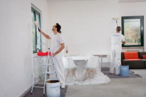 Interior being painted.