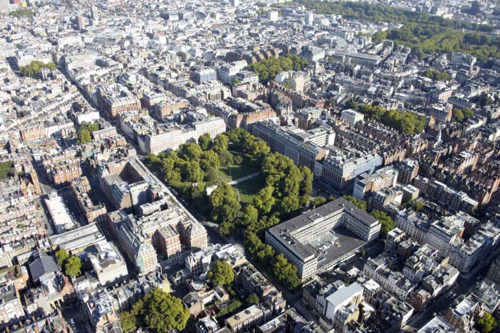 Aerial view of London estate.