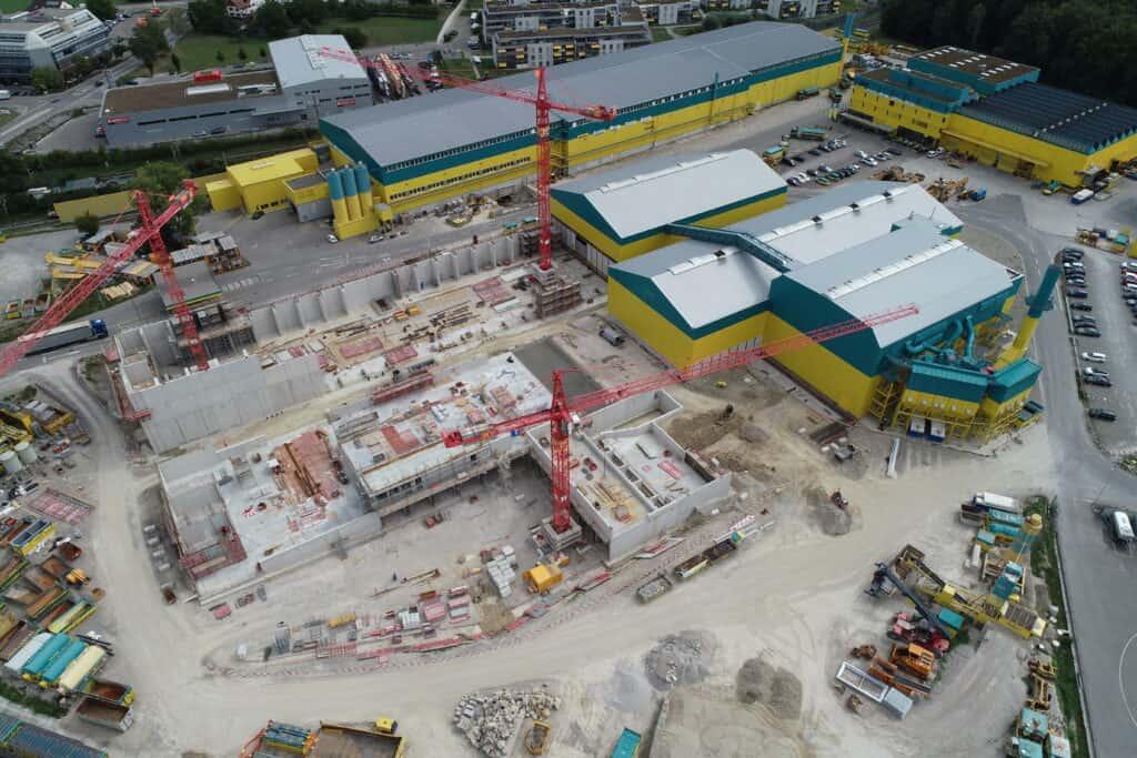 Aerial shot of Eberhard recycling plant under construction in Oberglatt, Switzerland