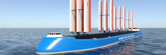 CGI visualisation of Windship True Zero Emissions triple-wing rig installed on a ship and viewed from the bow end