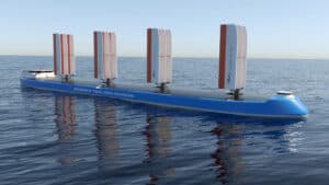 CGI visualisation of Windship True Zero Emissions triple-wing rig installed on a ship and viewed from the side
