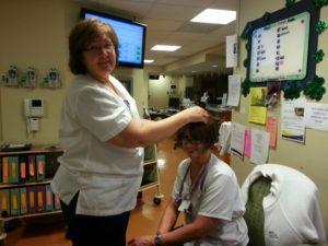 Linda fixing my wig!!