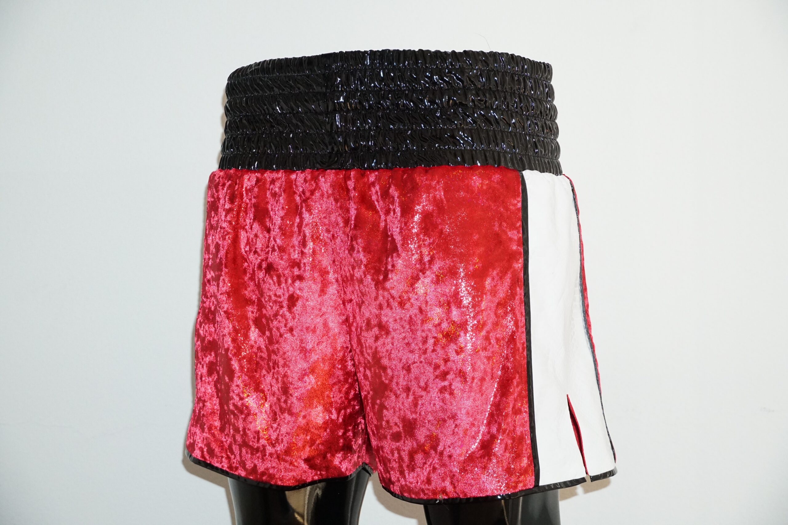 Custom made red / white boxing shorts ready to sell.